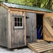 6x12 Nantucket with weathered pine siding for a rustic style
