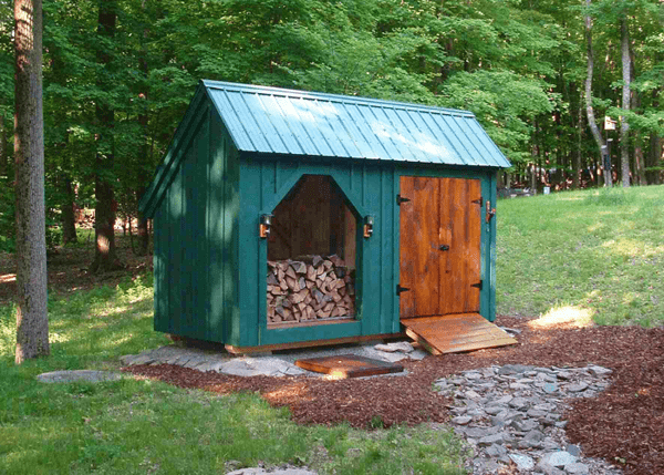6x14 Weekender green storage shed with open firewood bin