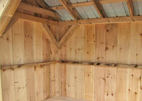 6x14 Weston Potting Shed enclosed side interior with post and beam hemlock frame