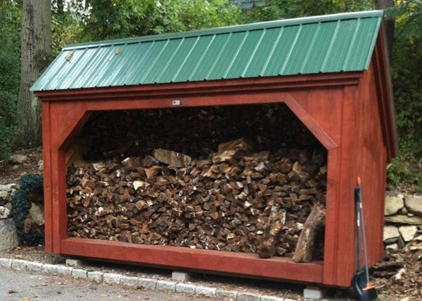 6x14 Woodbin post and beam firewood storage shed that holds four cords