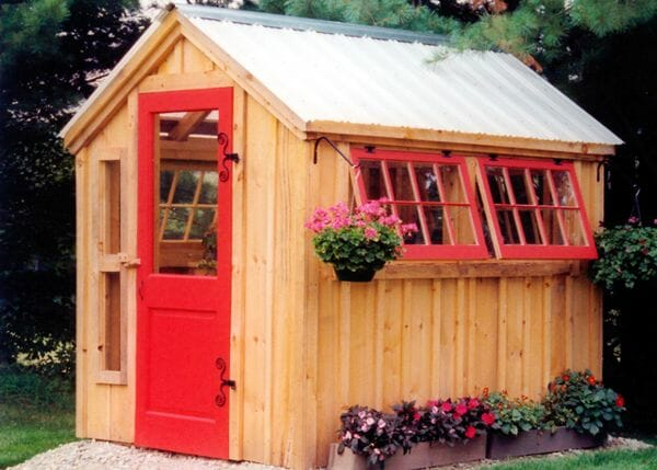 6x8 Greenhouse with antique red door, red hinged windows and other modifications
