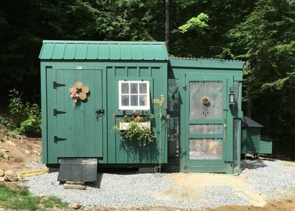 6x8 Nantucket post and beam green chicken coop with flower box