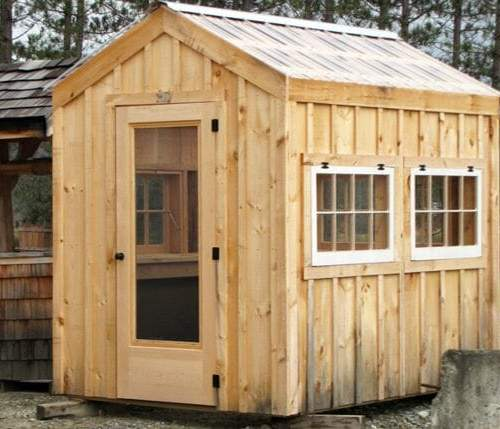 6x8 Greenhouse includes hinged barn sash windows, a combo glass/screen door and a clearpoly roof