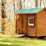 6x8 Nantucket post and beam storage shed with log cabin siding