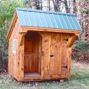 6x8 Weston Potting Shed includes a single side door and a built in workbench