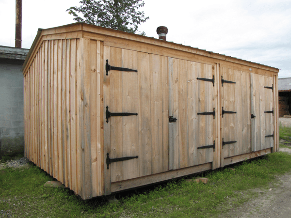14x20 Barn Garage with two pairs of doors.