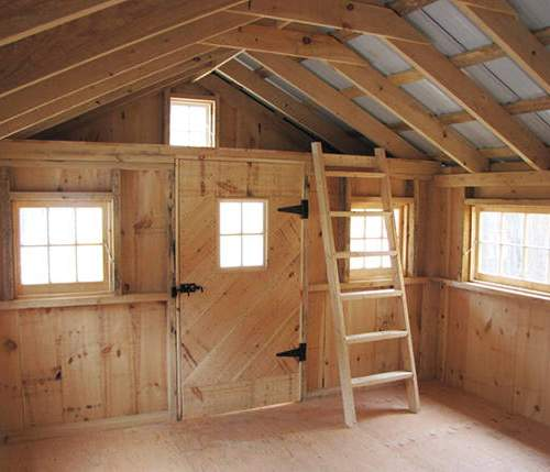 "12x20 Bunkhouse with barn sash windows, loft, ladder, solid pine door with window and 3/4"" cdx plywood decking."