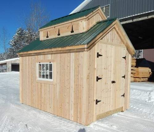 8x12 Sugar Shack with cupola, windows and double doors