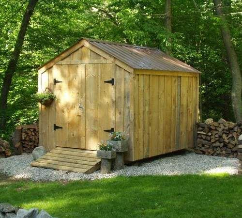 8x10 Vermonter with battens and a Tudor Brown roof