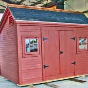 8x12 Church Street painted red shed