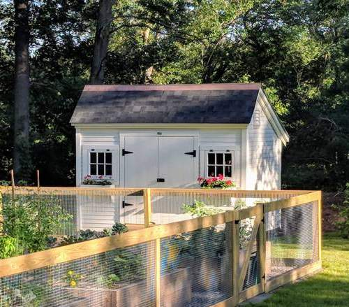 8x12 Church Street backyard shed with flower boxes