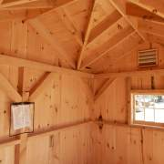 8x12 Cross Gable - Post and Beam Storage Shed Interior