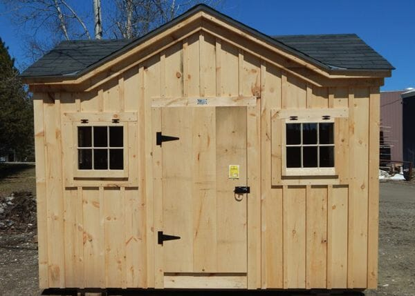 8x12 Cross Gable post and beam cottage with shingle roof