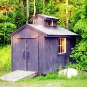 Sugar Shack built using the plans and customer sourced lumber, metal roofing and windows