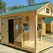 8x12 Bunkhouse - post and beam cabin modified to have a double door so it can also be used as a storage shed