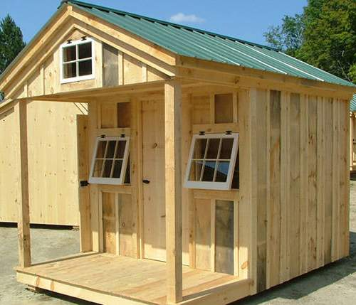 8x12 Bunkhouse - A tiny and cute cottage that includes a porch and a loft