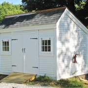 8x12 Church Street white storage shed with asphalt shingle roof