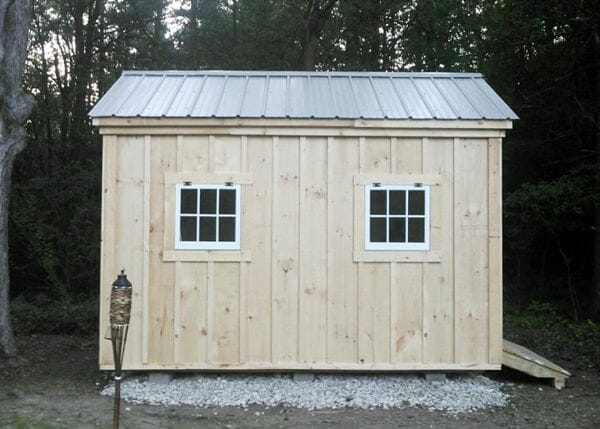 8x12 Gable with grey roof. The design includes the two hinged windows.