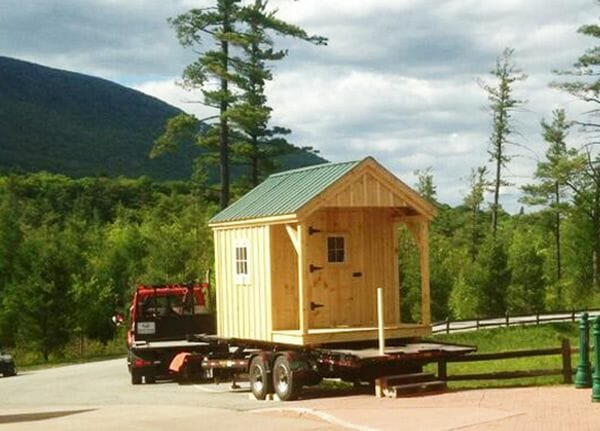 An 8x12 Nook being delivered to it's new home