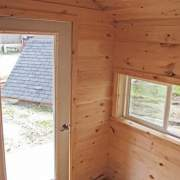 8x12 Nook post and beam cabin with four season insulation, double pane window and insulated door