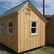 8x12 Saltbox with double pane insulated double hung windows