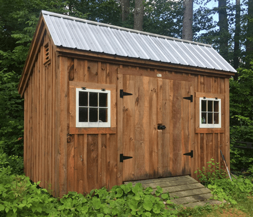 8x12 Saltbox with Ash Gray metal roof and stained siding