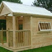 8x12 Garden Shed with porch railing, larger windows, clapboard siding and clearpoly roof