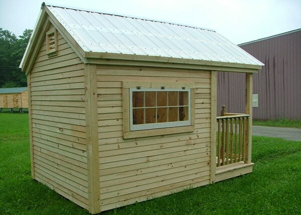 8x12 Garden Shed with clapboard siding, clearpoly roof, 4x2 hinged windows and porch railing