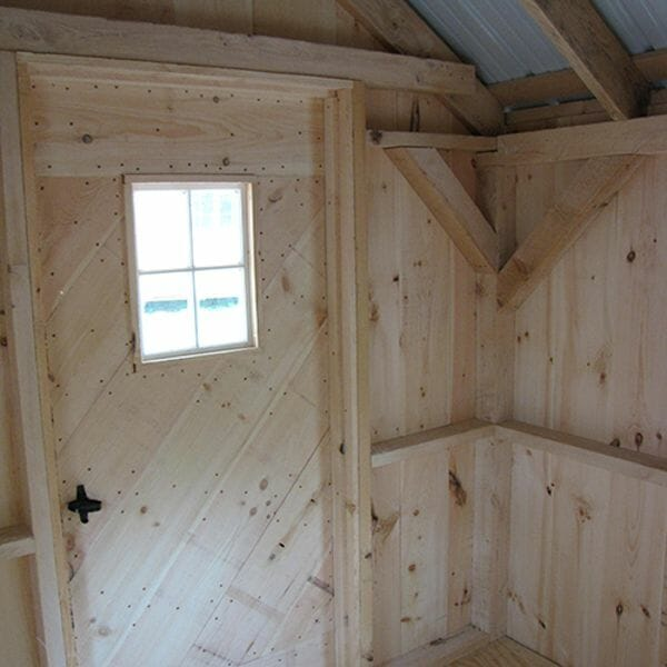 8x12 Garden Shed interior with a single door and fixed window