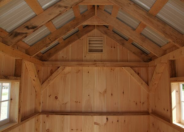 8x12 Garden Shed interior with 4x4 hemlock post and beam framing and hinged barn sash windows