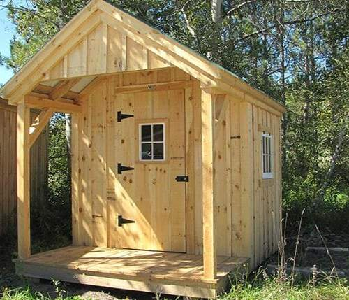 8x12 Garden Shed includes pine board and batten siding and a covered 4x8 porch.