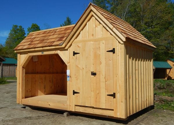 8x14 Vermont Gem with cedar shingle roof and double doors