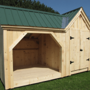 8x14 Vermont Gem backyard storage shed for firewood with Evergreen metal roof