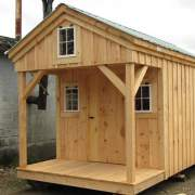 8x16 Bunkhouse includes three windows, pine door, pine board and batten siding, and an evergreen metal roof