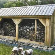 8x20 Woodbin with ash gray corrugated metal roof upgrade