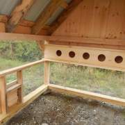 Nesting boxes and a chicken door/ ramp are included with this design