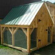 8x8 Chicken Coop - standard build with a couple white roofing panels purchased separately.