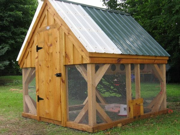 8x8 Chicken Coop with small coop door and two different roof colors