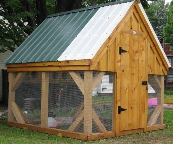 8x8 Chicken Coop with a green and white roof