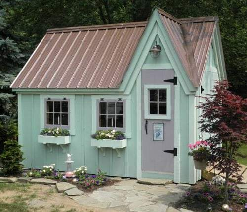 8x12 Dollhouse with roof color upgrade and flower boxes.