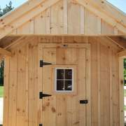8x12 Garden Shed with single door that has a window installed in it. Door hardware includes three heavy duty steel door hinges and a whitcomb turn latch.