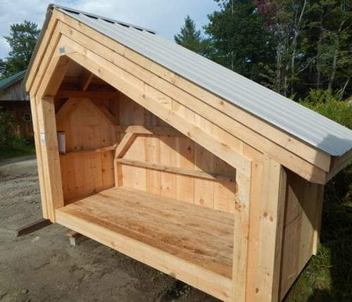 4x10 Hearthstone post and beam two cord firewood storage shed with ash gray metal roof