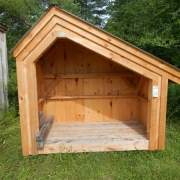 The 4x8 Hearthstone is a small firewood storage shed that can hold one cord