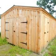 14x20 Garage with double doors and a single side entry door in pine