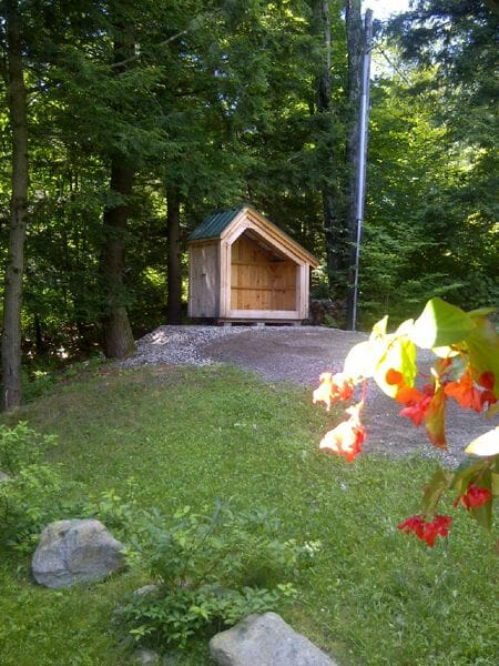4x8 Hearthstone firewood storage shed holds one plus cords of wood