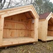 4x8 Hearthstone post and beam firewood shed with asphalt shingle roofing upgrade