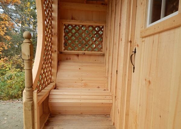 12x12 Love Nest includes two built-in benches on both sides of the porch.