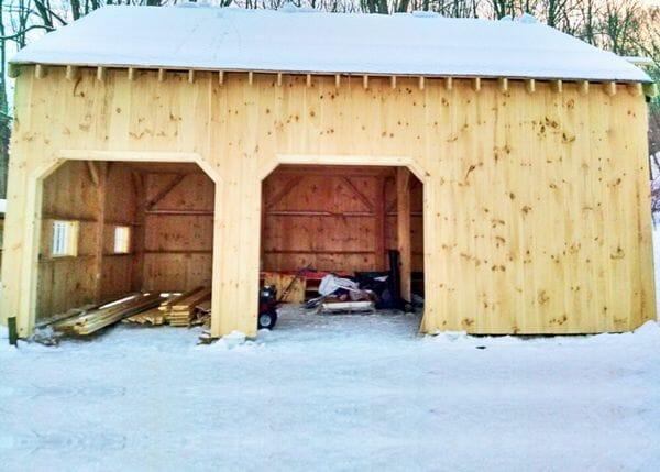 20x30 Two Bay Garage kit build in progress