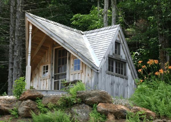 12x14 Writers Haven with cedar shingle roof, screen door and 15-lite insulated wood door