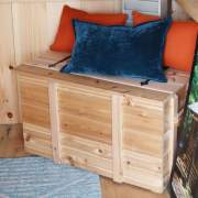 This toy chest can double as a bench, just add pillows.